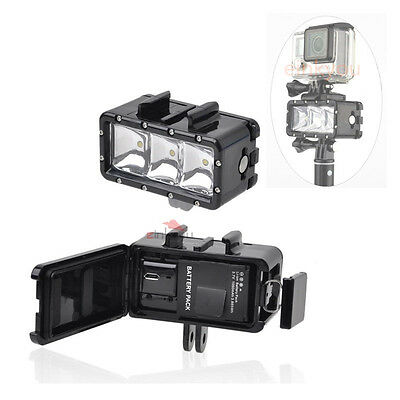 Dimmable LED Night Video Light Underwater 30m Diving Mount kit for Gopro 4 3+