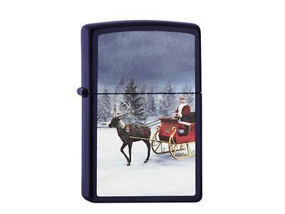 "ZIPPO ""REINDEER AND SLEIGH SANTA CLAUS"" BLAU LIGHTER /60000843 ** NEW in BOX **"