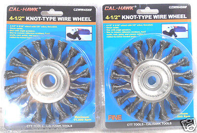 """LOT OF (2) 4 1/2"""" x 5/8""""  ARBOR KNOTTED WIRE WHEEL"""
