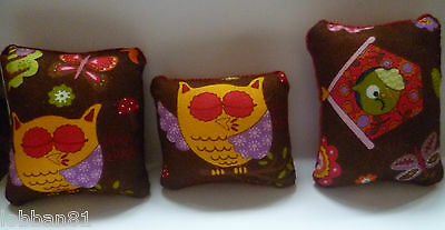 Pin Cushion  Owl Design Cotton & Red Velvet  In Organza Gift Bag New