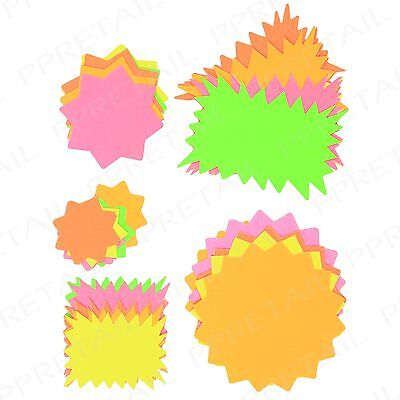 100x Fluorescent Price Display Cards ~ASSORTED SHAPES & SIZES~ School Neon Stars