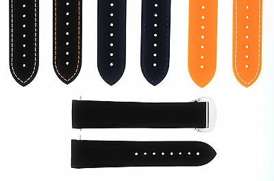 20-22Mm Rubber Diver Strap Band Omega Seamaster Planet Ocean Clasp Curved End 45