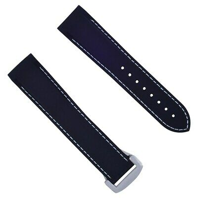22Mm Rubber Watch Band Strap For 45Mm Omega Seamaster Planet Ocean Black Ws #45C