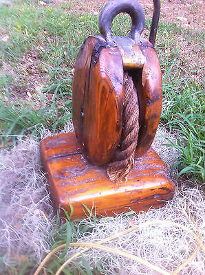 Ship's Block Lamp Made 40 years ago, Varnished Driftwood Base eaten by Shipworms