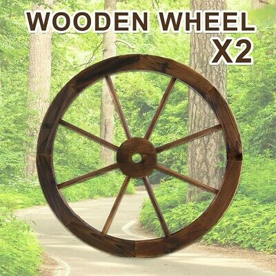 Large Wooden Wheel x2 Garden Decor Feature Outdoor Wagon Wheels Decoration