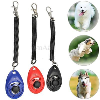 Dog Pet Puppy Cat Obedience Training Clicker Click Button Trainer With Band Belt