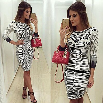 Sexy Women Ladies Long Sleeve Bodycon Bandage Party Evening Cocktail Mini Dress