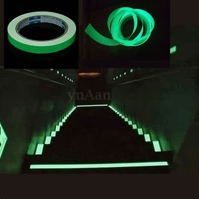 12mm X 10M Glow In Dark Tape Luminous Photoluminescent Egress Stage Safety Strip