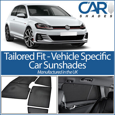 VW Golf 3dr MK VII 13> UV CAR SHADES WINDOW SUN BLINDS PRIVACY GLASS TINT BLACK