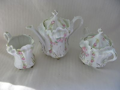 RS Prussia China Red Mark Tea Set  Pitcher Creamer Sugar W/ Delicate Pink Floral