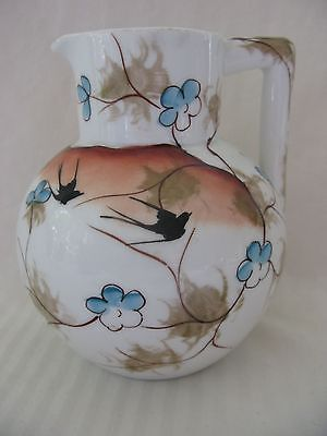 Hand Painted Antique ES Prussia China Milk Pitcher Birds & Flowers In Sunset