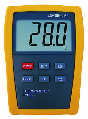 Scientific Digital Thermometer 1 Sensor Probe K-Type HVAC Tool Temperature M6801