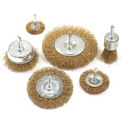 6Pc Wire Wheel Brush Set DURABLE Paint Rust Polish Removal Rotary Grinder Drill