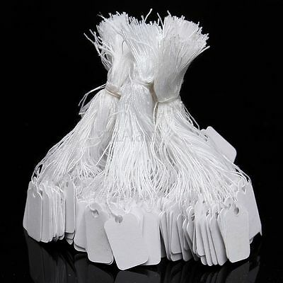 500x White Strung Jewellery Price Ticket Tags Label Retail Clothing Gift 24x14mm