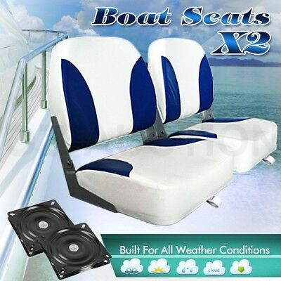 2 x Weather Resistant Swivel Fishing Marine Folding Boat Seats Blue White Set