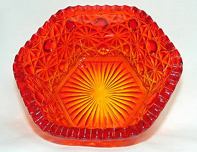 Ruby Red Fine Cut Glass Candy Bowl / Hobstar with Diamonds / Possibly Amberina