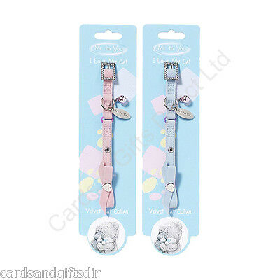 Pet Brands Me to You Tatty Teddy Velvet Cat Collar Blue Pink With Charm