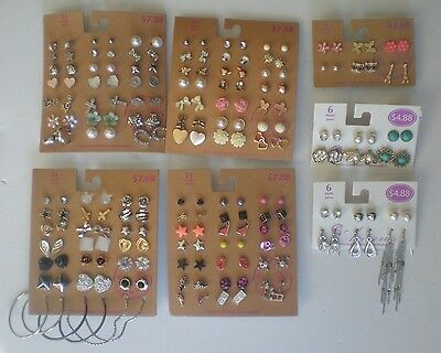 Lot of 102 Pairs of Studs Hoops  and Dangle Earrings Hypo Allergenic New