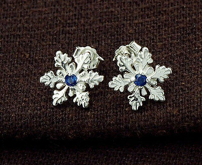925 Sterling Silver Snowflake Stud Earrings, with Lab grown Sapphire.