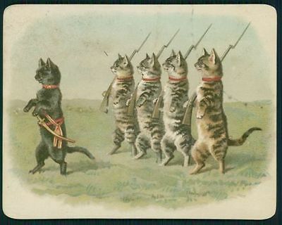 art Helena Maguire military Soldier Cat Victorian Greeting Card old c1890s litho