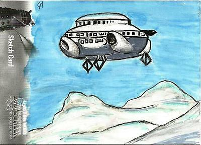 Dr Doctor Who Big Screen Additions Mono Sketch Card by James McNeil a Dalek Ship