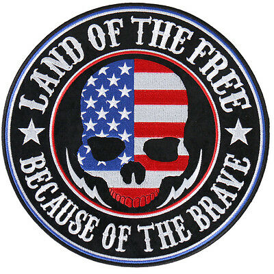 Land of the Free Skull EMBROIDERED 3.5 INCH IRON ON MC BIKER  PATCH BY MILTACUSA