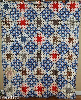 GORGEOUS Vintage 30's 8 Pointed Star Antique Quilt Top ~BLUE PLAID BACKGROUND!