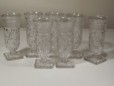 "7 Imperial Glass Cape Cod Clear 5 7/8"" Parfaits Excellent"
