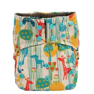 Charcoal Bamboo Baby Cloth Diaper Nappy Reusable Washable Double Gussets Giraffe