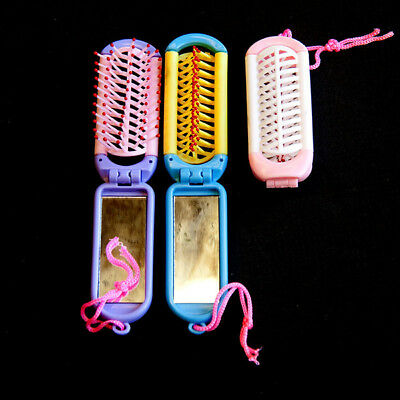 12 x Girls Travel Folding Hair Brush with Mirror Pocket Size Comb