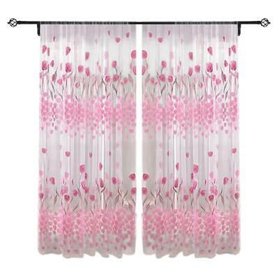Voile Door Window Curtain Room Sheer Drape Panel Floral Scarf Sheer Valance