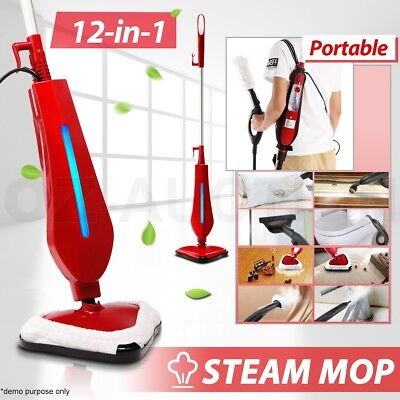 12 in 1 Foldable Steam Mop Handheld Steamer Cleaning Cleaner Floor Carpet 1300W