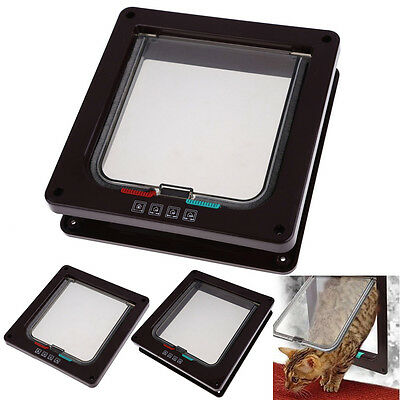Safe 4-Way Locking Lockable Pet Cat Small Dog Security Flap Door Coffee Frame