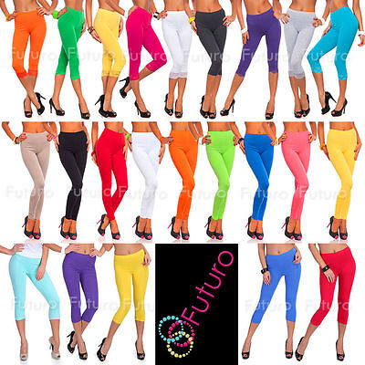 Cotton Leggings Various Lengths Full Length, Cropped 3/4, With Lace Gym Pants