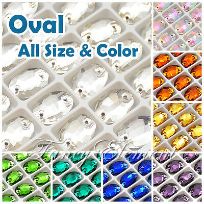 (Small Qty) Oval 3210 Glass Crystal Sew On Rhinestones Beads Choose Size & Color