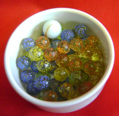 NEW 50 TRADITIONAL STARDUST 11mm GLASS MARBLES. GAME or COLLECTORS ITEMS