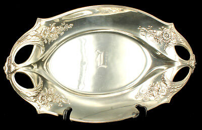 "Antique Art Nouveau Secessionist WMF Silverplate Tray Flowers In Relief 15.5"" Ge"