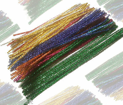 "Pipe Cleaners  Sparkle Christmas Chenille Craft Stems  30cm 12"" UK Seller"