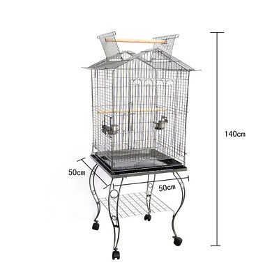 Bird Pet Budgie Canary Parrot Cage Aviary Wire Stand With Open Roof