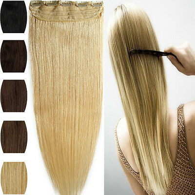 One Piece 100% Real Clip in Real Human Hair Extensions Black Brown Blonde Weft