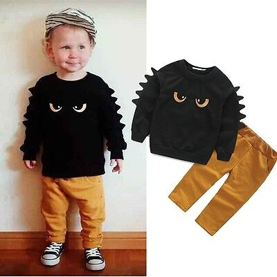Hot Monster Baby Boy Kid Long Sleeve Sweat Jumper Top & Pant Outfit Set Clothes