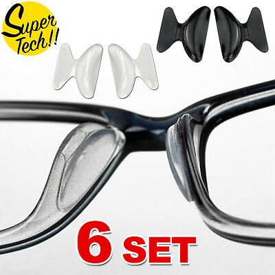 6 Pairs Silicone Anti-Slip Stick On Nose Pads for Eyeglass Sunglasses Glasses