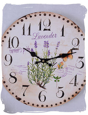 Lavender Watch Shabby Chic Wall Clock Antique Provence Kitchen Clock Retro