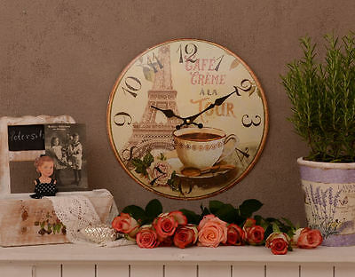 French Wall Clock In Vintage Style Paris Eiffel Tower