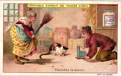 6 Cards c1896 Puzzles Hidden Objects Riddles Cat Mouse Hare
