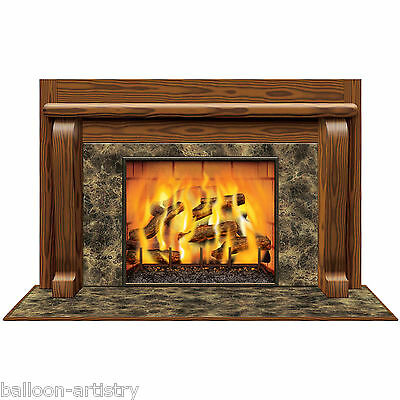 Classic Cosy Christmas Scene Setter Add-on Prop Decoration - Wood Fireplace