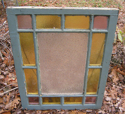 #8 Antique Primitive Garden Country Home Stained Glass Daisy Button Frame Window