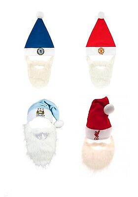 OFFICIAL FOOTBALL CLUB - SANTA HAT & BEARD (Father Christmas) Gift/Novelty/Fun