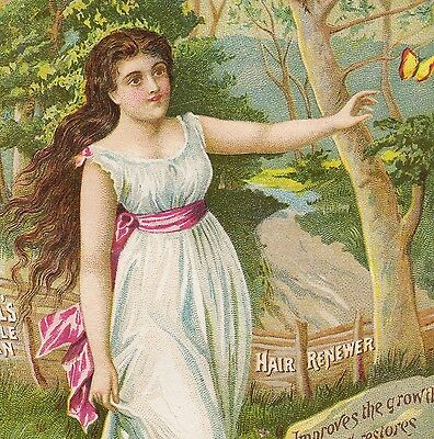 Halls Vegetable Sicilian Hair Renewer Cure old Whisker Dye Victorian Trade Card