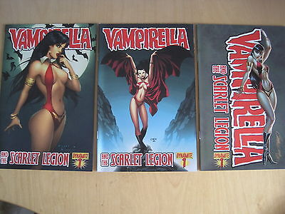 VAMPIRELLA & the SCARLET LEGION 1 - SET OF 3 VARIANTS.GREAT COVERS.DYNAMITE.2011